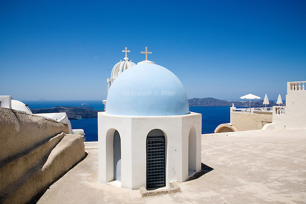 Domes overlooking the caldera in Santorini, Greece on July 3, 2013.