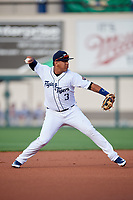Lakeland Flying Tigers Isaac Paredes (3) throws to first base for the out during a game against the Tampa Tarpons on April 5, 2018 at Publix Field at Joker Marchant Stadium in Lakeland, Florida.  Tampa defeated Lakeland 4-2.  (Mike Janes/Four Seam Images)