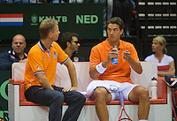 15-sept.-2013,Netherlands, Groningen,  Martini Plaza, Tennis, DavisCup Netherlands-Austria, fourth rubber,  Dutch bench with captain Jan Siemerink and Jesse Huta Galung <br /> Photo: Henk Koster