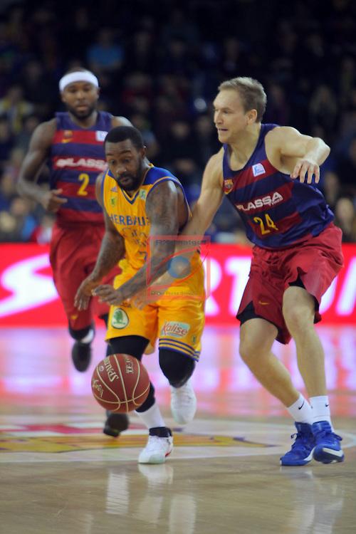 League ACB-ENDESA 2016/2017. Game: 11.<br /> FC Barcelona Lassa vs Herbalife Gran Canaria: 79-78.<br /> Bo McCalebb vs Brad Oleson.