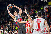 9th February 2018, Aleksandar Nikolic Hall, Belgrade, Serbia; Euroleague Basketball, Crvenz Zvezda mts Belgrade versus AX Armani Exchange Olimpia Milan; Center Kaleb Tarczewski of AX Armani Exchange Olimpia Milan in action against Center Milko Bjelica of Crvena Zvezda mts Belgrade under the basket