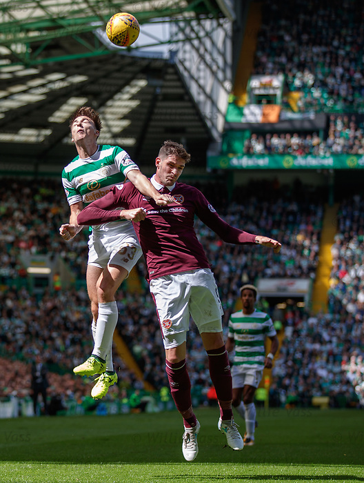 Kyle Lafferty challenges Celtic's Kieran Tierney