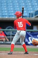 Shortstop David Hollins (15)  of Orchard Park High School in Orchard Park, New York playing for the Philadelphia Phillies scout team during the East Coast Pro Showcase on July 31, 2013 at NBT Bank Stadium in Syracuse, New York.  (Mike Janes/Four Seam Images)