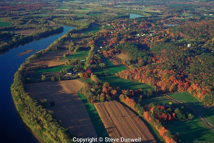 Connecticut River near Northampton, MA autumn aerial