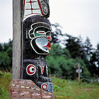 Alert Bay, Cormorant Island, BC, British Columbia, Canada - Kwakwaka'wakw (Kwakiutl) Memorial Totem Pole on Namgis Burial Grounds