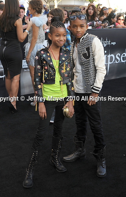"LOS ANGELES, CA. - June 24: Willow Smith and Jaden Smith arrive to the premiere of ""The Twilight Saga: Eclipse"" during the 2010 Los Angeles Film Festival at Nokia Theatre L.A. Live on June 24, 2010 in Los Angeles, California."