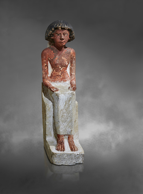 Ancient Egyptian statue of Maa, limestone, New Kingdom, 18th Dynasty, (1480-1390 BC), Thebes Necropolis. Egyptian Museum, Turin. Grey background. Drovetti collection. Cat 3089