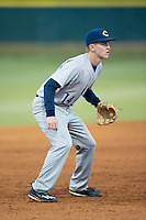 Catawba Indians third baseman Jackson Raper (14) on defense against the Belmont Abbey Crusaders at Abbey Yard on February 7, 2017 in Belmont, North Carolina.  The Crusaders defeated the Indians 12-9.  (Brian Westerholt/Four Seam Images)