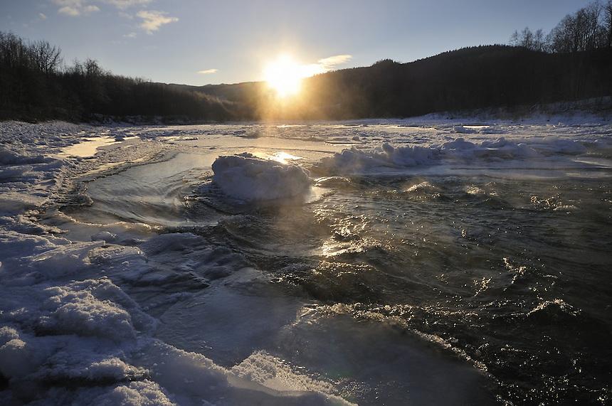 Sunset over Gaula river,Norway Landscape, landskap,
