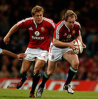 2005 British & Irish Lions vs Argentina, at The Millennium Stadium, Cardiff, WALES played on  23.05.2005, Dennis Hickie attacking surpported by Jonny Wilkinson..Photo  Peter Spurrier. .email images@intersport-images...