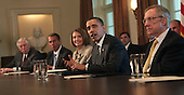 United States President Barack Obama participates in a bipartisan Congressional Leadership meeting in the Cabinet Room of the White House on Wednesday, April 14, 2010.  (left to right:  U.S. House Majority Leader Steny Hoyer (Democrat of Maryland); U.S. House Republican Leader John A. Boehner (Republican of Ohio);  Speaker of the U.S. House Nancy Pelosi (Democrat of California); President Obama; and U.S. Senate Majority Leader Harry Reid (Democrat of Nevada)..Credit: Dennis Brack / Pool via CNP