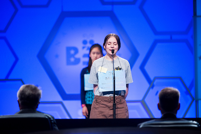 Speller No. 074, Mary Geneve Skirvin, 13, eighth grader at Brown County Junior High School, Nashville, Indiana, competes in the preliminary rounds of the Scripps National Spelling Bee at the Gaylord National Resort and Convention Center in National Habor, Md., on Wednesday, May 29, 2013. Photo by Bill Clark