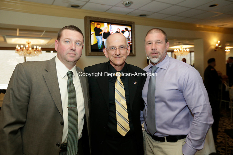 Wolcott, CT- 25 April 2015-042516CM10- SOCIAL MOMENTS--- From left to right, Wolcott police officers, Sgt. Pat Malloy, Capt. Dominic Angiolillo and Sgt. Lenny Greene are photographed during The Exchange Club of Wolcott's annual Public Service Awards Banquet at Mahan's Lakeview Fine Catering on in Wolcott on Monday, April 25.  Christopher Massa Republican-American