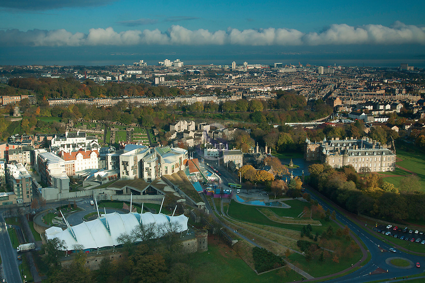 Holyrood Palace, the Scottish Parliament and Holyrood Park from Salisbury Crags, Edinburgh