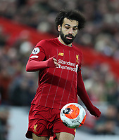 24th February 2020; Anfield, Liverpool, Merseyside, England; English Premier League Football, Liverpool versus West Ham United; Mohammed Salah of Liverpool controls the ball