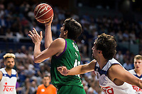 Real Madrid's player Sergio Llull and Unicaja Malaga's player Carlos Suarez during match of Liga Endesa at Barclaycard Center in Madrid. September 30, Spain. 2016. (ALTERPHOTOS/BorjaB.Hojas) /NORTEPHOTO.COM