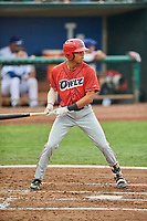 Jordyn Adams (17) of the Orem Owlz bats against the Ogden Raptors at Lindquist Field on August 4, 2018 in Ogden, Utah. The Owlz defeated the Raptors 15-12. (Stephen Smith/Four Seam Images)