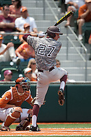 Texas A&M Aggies first baseman Jacob House #27 at bat during the NCAA baseball game against the Texas Longhorns on April 29, 2012 at UFCU Disch-Falk Field in Austin, Texas. The Longhorns beat the Aggies 2-1 in the last ever regular season game scheduled for the long time rivals. (Andrew Woolley / Four Seam Images)
