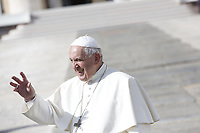 Pope Francis waves to the faithful at the end of his weekly general audience in St. Peter's Square at the Vatican City, October 16, 2019.<br /> UPDATE IMAGES PRESS/Riccardo De Luca<br /> <br /> STRICTLY ONLY FOR EDITORIAL USE