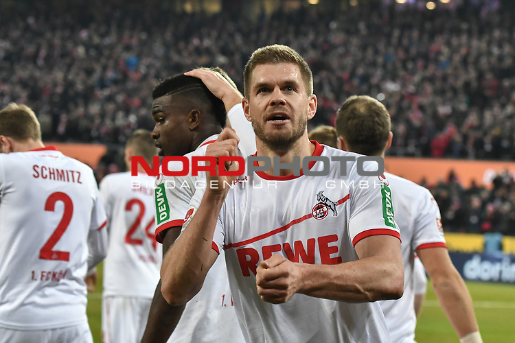 08.02.2019, Rheinenergiestadion, Köln, GER, DFL, 2. BL, VfL 1. FC Koeln vs FC St. Pauli, DFL regulations prohibit any use of photographs as image sequences and/or quasi-video<br /> <br /> im Bild Simon Terodde (#9, 1.FC Köln / Koeln)  jubelt nach seinem Tor zum 4:1<br /> <br /> Foto © nph/Mauelshagen
