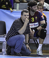 28.04.2012. Barcelona, Spain. Velux EHF Champions League (Quarter Final 2nd Leg). Picture show Xavi Pascual in action during match between FC Barcelona Intersport against AG Copenhagen at Palau Blaugrana