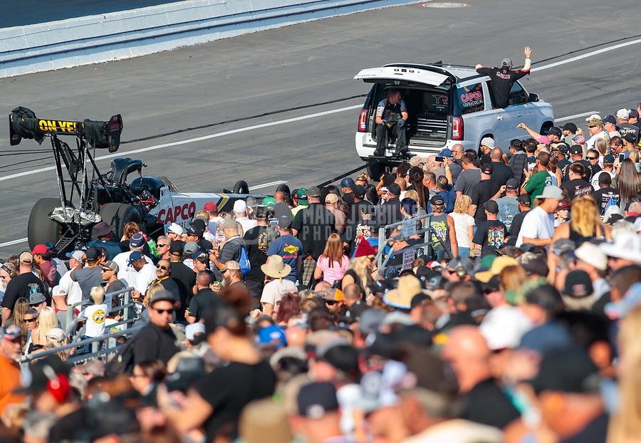 Nov 11, 2018; Pomona, CA, USA; NHRA top fuel driver Steve Torrence during the Auto Club Finals at Auto Club Raceway. Mandatory Credit: Mark J. Rebilas-USA TODAY Sports