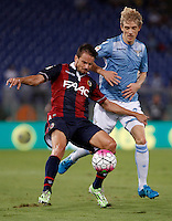Calcio, Serie A: Lazio vs Bologna. Roma, stadio Olimpico, 22 agosto 2015.<br /> Bologna&rsquo;s Matteo Brighi, left, is challenged by Lazio&rsquo;s Dusan Basta during the Italian Serie A football match between Lazio and Bologna at Rome's Olympic stadium, 22 August 2015.<br /> UPDATE IMAGES PRESS/Isabella Bonotto