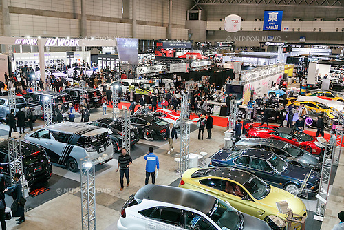 Visitors gather at Tokyo Auto Salon 2017 on January 13, 2017, Chiba, Japan. Tokyo Auto Salon is Japan's largest show for custom cars  with 417 automobile-related exhibitors displaying their latest cars, products, and services during this year's three-day trade show. The show runs from January 13 to 15. (Photo by Rodrigo Reyes Marin/AFLO)