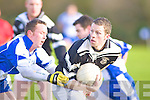 Speed Merchant: Ardfert's Damien Wallace slips away from his marker in their County League Division One relegation play-off against Castleisland Desmonds at Keel on Sunday.