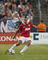 Manchester United FC defender Rio Ferdinand (5) clears the ball. In a Herbalife World Football Challenge 2011 friendly match, Manchester United FC defeated the New England Revolution, 4-1, at Gillette Stadium on July 13, 2011.