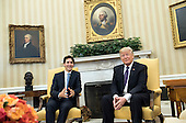 United States President Donald Trump (R) meets with Prime Minister Justin Trudeau of Canada during a meeting in the Oval Office at the White House in Washington, D.C. on February 13, 2017. <br /> Credit: Kevin Dietsch / Pool via CNP