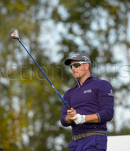 16.10.2014. The London Golf Club, Ash, England. The Volvo World Match Play Golf Championship.  Day 2 group stage matches.  Henrik Stenson [SWE] tee shot fourth hole.