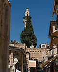The minaret of the Mosque of Omar, located by the Church of the Holy Sepulchre in the Christian Quarter of the Old City of Jerusalem.  The Old City of Jerusalem and its Walls is a UNESCO World Heritage Site