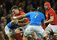 Wales George North is tackled by Italy&rsquo;s Marcello Violi<br /> <br /> Photographer Ian Cook/CameraSport<br /> <br /> 2018 NatWest Six Nations Championship - Wales v Italy - Sunday 11th March 2018 - Principality Stadium - Cardiff<br /> <br /> World Copyright &copy; 2018 CameraSport. All rights reserved. 43 Linden Ave. Countesthorpe. Leicester. England. LE8 5PG - Tel: +44 (0) 116 277 4147 - admin@camerasport.com - www.camerasport.com