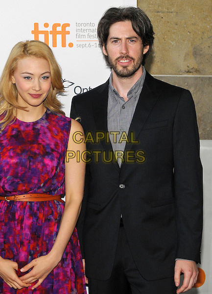 "Sarah Gadon, Jason Reitman.""American Beauty""  Premiere - 2012 Toronto International Film Festival held at Ryerson Theatre, Toronto, Ontario, Canada..September 6th, 2012.TIFF half length purple red pink sleeveless print dress grey gray shirt black suit beard facial hair .CAP/ADM/BPC.©Brent Perniac/AdMedia/Capital Pictures."