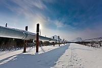 Trans Alaska oil pipeline, mount Sukakpak of the Brooks Range, Arctic, Alaska.