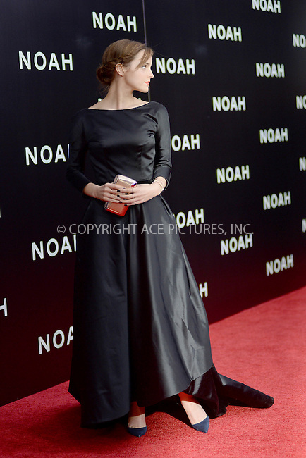 WWW.ACEPIXS.COM<br /> March 26, 2014 New York City<br /> <br /> Emma Watson attending the 'Noah' New York premiere at Ziegfeld Theatre on March 26, 2014 in New York City.<br /> <br /> Please byline: Kristin Callahan<br /> <br /> ACEPIXS.COM<br /> <br /> Tel: (212) 243 8787 or (646) 769 0430<br /> e-mail: info@acepixs.com<br /> web: http://www.acepixs.com