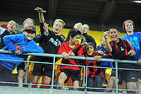 Fans in the stands during the ANZAC Day AFL match between St Kilda Saints and Brisbane Lions at Westpac Stadium, Wellington, New Zealand on Friday, 25 April 2014. Photo: Dave Lintott / lintottphoto.co.nz