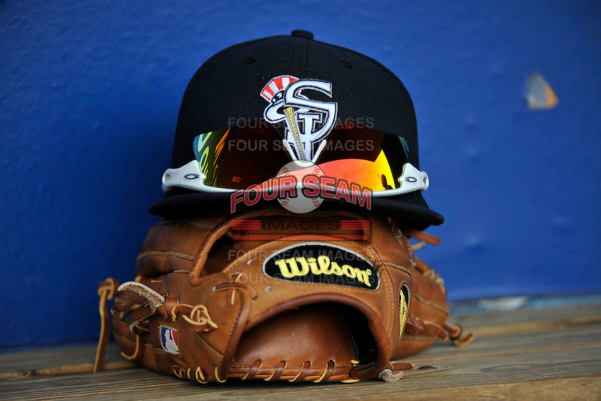 Staten Island Yankees short stop Cito Culver's glove and hat on bench during a game against the Tri-City  Valley Cats at Richmond County Bank Ballpark at St. George on July 25, 2011 in Staten Island, NY.  Staten Island defeated Tri-City 2-1.  Tomasso DeRosa/Four Seam Images