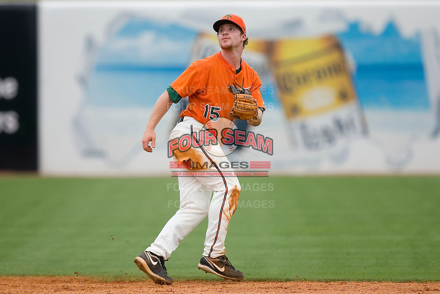 Shortstop Paul Gran #15 of the Greensboro Grasshoppers starts back on a pop fly at NewBridge Bank Park June 20, 2009 in Greensboro, North Carolina. (Photo by Brian Westerholt / Four Seam Images)