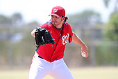 Washington Nationals pitcher John Lannan #31 delivers a pitch during a spring training game against the Baltimore Orioles at the Spacecoast Stadium Training Complex on March 27, 2011 in Melbourne, Florida.  Photo By Mike Janes/Four Seam Images