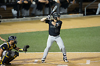 Logan Harvey (15) of the Wake Forest Demon Deacons at bat against the West Virginia Mountaineers in Game Six of the Winston-Salem Regional in the 2017 College World Series at David F. Couch Ballpark on June 4, 2017 in Winston-Salem, North Carolina.  The Demon Deacons defeated the Mountaineers 12-8.  (Brian Westerholt/Four Seam Images)