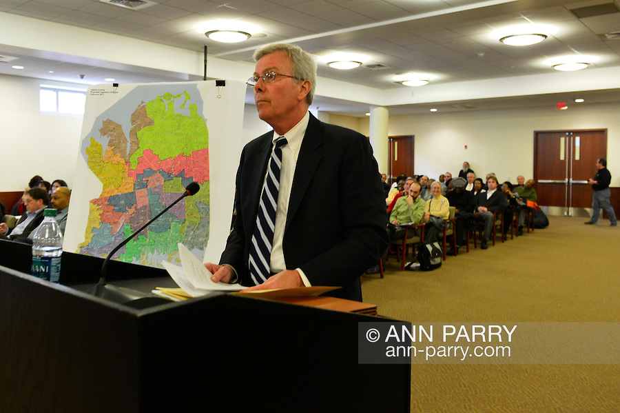 Feb. 25, 2013 - Mineola, New York, U.S. - FRANCIS X. MORONEY, Chairman of the Temporary Redistricting Advisory Commission, discusses the controversial proposed Redistricting Map at the Nassau County Legislature meeting. The legislature postponed the vote on the map shortly before 1 AM the morning of February 26, nearly 12 hours after the meeting started on 1:30 PM Feb. 25.
