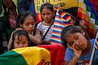 Children attend a demonstration lead by youth militants of the coca growers' union, in Eterazama town, Chapare region, Bolivia. December 01, 2019.<br /> Des enfants assistent à une manifestation animée par des jeunes militants du syndicat des cultivateurs de coca, dans la ville d'Eterazama, région du Chapare, Bolivie. 01 décembre 2019.