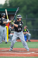 Blake Edwards (15) of the Gastonia Grizzlies at bat against the Asheboro Copperheads at McCrary Park on June 1, 2015 in Asheboro, North Carolina.  The Copperheads defeated the Grizzlies 11-6. (Brian Westerholt/Four Seam Images)