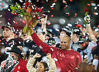 STANFORD, CA-NOVEMBER 30, 2012 - David Shaw celebrates among flying confetti after winning the PAC-12 Championship at Stanford Stadium. The Stanford Cardinal advances to the Rose Bowl with a 27-24 win over the UCLA Bruins.