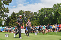 Tiger Woods (USA) and Jason Day (AUS) head down 4 during 2nd round of the World Golf Championships - Bridgestone Invitational, at the Firestone Country Club, Akron, Ohio. 8/3/2018.<br /> Picture: Golffile | Ken Murray<br /> <br /> <br /> All photo usage must carry mandatory copyright credit (© Golffile | Ken Murray)