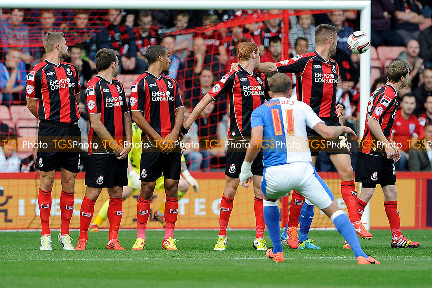 Jordan Rhodes of Blackburn Rovers goes close with a first half free kick - AFC Bournemouth vs Blackburn Rovers - Sky Bet Championship Football at the Goldsands Stadium, Bournemouth, Dorset - 28/09/13 - MANDATORY CREDIT: Denis Murphy/TGSPHOTO - Self billing applies where appropriate - 0845 094 6026 - contact@tgsphoto.co.uk - NO UNPAID USE