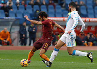 Roma&rsquo;s Mohamed Salah, left, is challenged by Napoli&rsquo;s Raul Albiol during the Italian Serie A football match between Roma and Napoli at Rome's Olympic stadium, 4 March 2017. <br /> UPDATE IMAGES PRESS/Riccardo De Luca