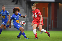20190823 – OOSTAKKER, BELGIUM : Gent's Kassandra Missipo (L) and Standard's Charlotte Cranshoff (R)  pictured during a women soccer game between AA Gent Ladies and Standard Femina de Liege on the first matchday of the Belgian Superleague season 2019-2020 , the Belgian women's football  top division , friday 23 th August 2019 at the PGB Stadium Oostakker in Gent  , Belgium  .  PHOTO SPORTPIX.BE | DIRK VUYLSTEKE